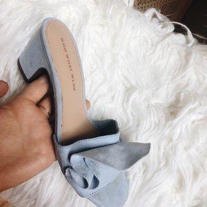 blue suede ruffle sandal